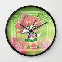 sailor jupiter Wall Clocks featuring Sailor Jupiter by Neo Crystal Tokyo