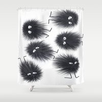 men Shower Curtains featuring Ink Men by Jennifer Warmuth Art And Design