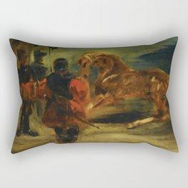 """Eugène Delacroix """"Horse and Three Men"""" Rectangular Pillow"""