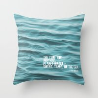 the cure Throw Pillows featuring SaltWater Cure by Christine Hall