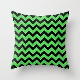 Chevron (Black & Green Pattern) Throw Pillow