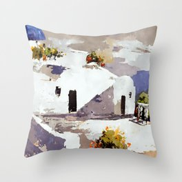 Greek Island Patio Scene Throw Pillow