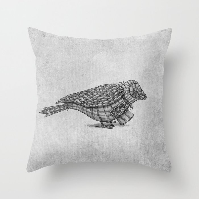Clockwork Bird  Throw Pillow