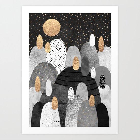 Little Land of Pebbles / Night Art Print