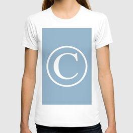 Copyright sign on placid blue background T-shirt
