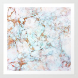 Soft Whites, Aquas and Blush of Pink and Rose Gold Veins Marble Art Print