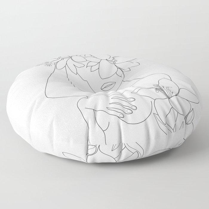 Minimal Line Art Woman with Flowers VI Floor Pillow