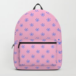 Brandeis Blue on Cotton Candy Pink Snowflakes Backpack