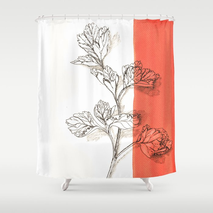 parsley branch nature watercolor orange Shower Curtain