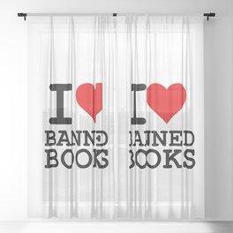 I Heart Banned Books Sheer Curtain