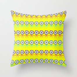 Lovely cute lollipop candy yellow pattern. Rows of beautiful retro vintage lollipops Throw Pillow