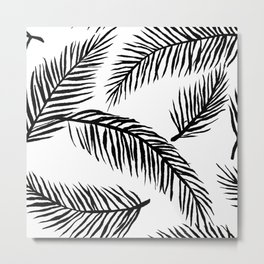 Black & White Palm Leaves Metal Print