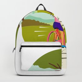 Girl Riding Bicycle Up Tree Circle Retro Backpack