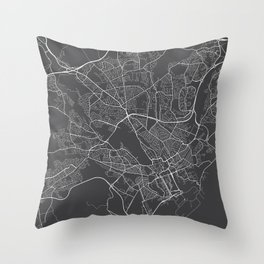 Cardiff Map, Wales - Gray Throw Pillow