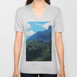 Pastures in the Alps Unisex V-Neck