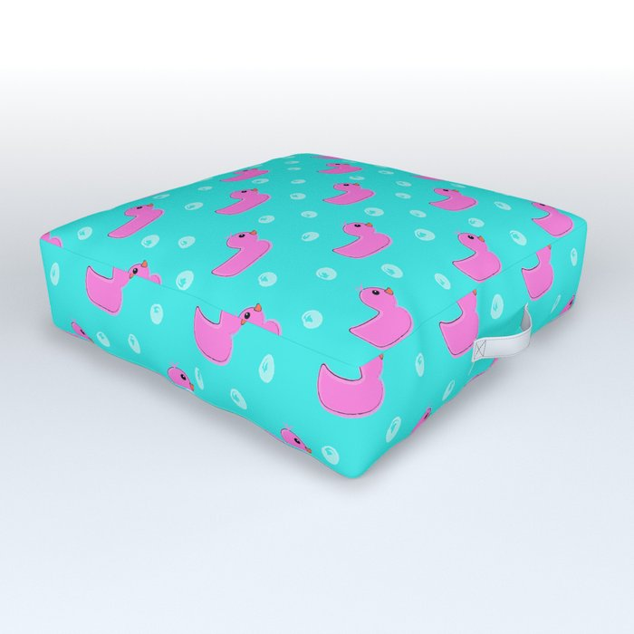 Just Ducky - pink rubber ducks Outdoor Floor Cushion