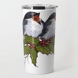 Christmas Illustration: Singing Birds With Holly Leaves, Twigs Travel Mug