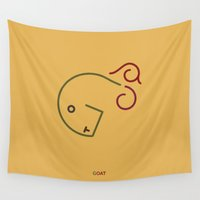 goat Wall Tapestries featuring g- goat by gazonula