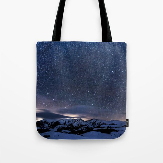 Starry Night Sky Winter Mountain Tote Bag