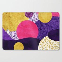 Terrazzo galaxy purple night yellow gold pink Cutting Board