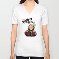 popeye V-neck T-shirts featuring POPEYE THE SAILOR MON - 018 by Lazy Bones Studios