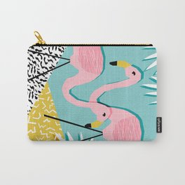 Bro - wacka design memphis throwback minimal retro hipster 1980s 80s neon pop art flamingo lawn Carry-All Pouch