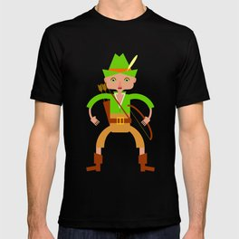 Forest hunter with bow and arrow T-shirt