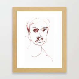 Portrait in red ink 1997 Framed Art Print