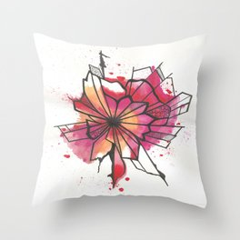 Pink and yellow Flower Explosion  Throw Pillow