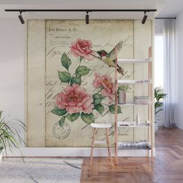 Vintage Roses Print Hummingbird Art Love Quote Rustic Decor Valentine Gift Wall Mural
