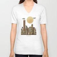 miami V-neck T-shirts featuring miami city  by bri.b