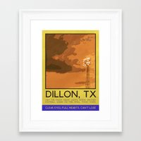 friday night lights Framed Art Prints featuring Silver Screen Tourism: DILLON, TX / FRIDAY NIGHT LIGHTS by Stone Heart Media