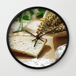 Fresh bread and wheat germ Wall Clock