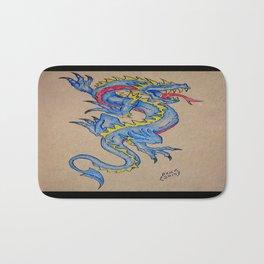 blue dragon parchment card (horizontal) Bath Mat