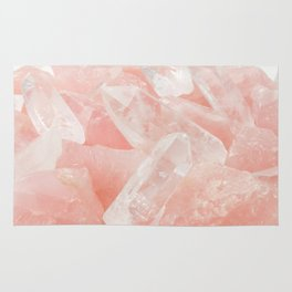 Light Pink Rose Quartz Crystals Rug