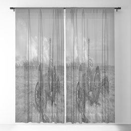Rustic Tractor - Old Tractor in Black and White Sheer Curtain