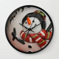 globe Wall Clocks featuring Frosty Globe by IowaShots