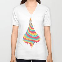 spaceship V-neck T-shirts featuring Spaceship by Popsicle Illusion