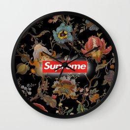 Floral black supreme Wall Clock