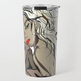 """My Beau"" Paulette Lust's Original, Contemporary, Whimsical, Colorful Art  Travel Mug"