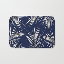 White Gold Palm Leaves on Navy Blue Bath Mat