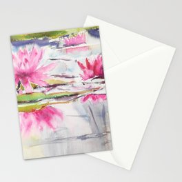Passion Pink Lotus Flowers Stationery Cards