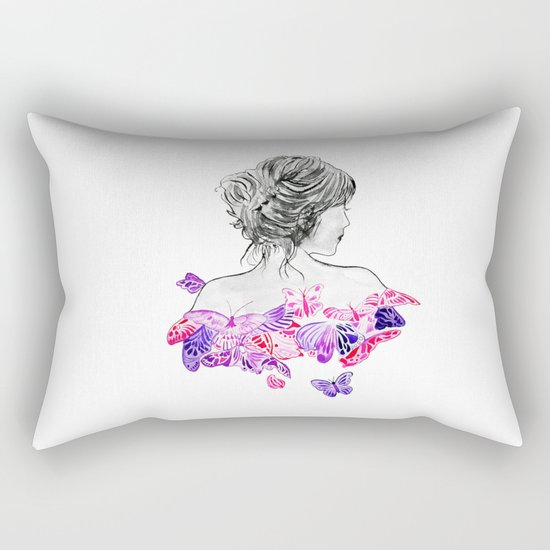 Lady and butterflies Rectangular Pillow
