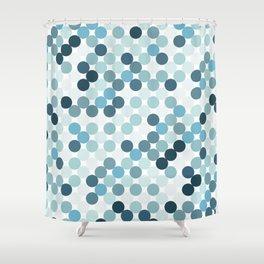 Blue color dots background. Shower Curtain