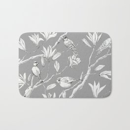 Magnolia flower and birds ink-pen drawing Bath Mat