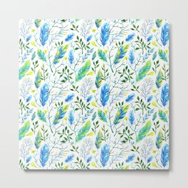 Blue and Green Watercolor Foliage Metal Print