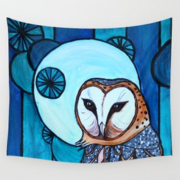 Barn Owl Art Nouveau Panel in blue Wall Tapestry