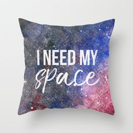 I Need My Space Watercolour Throw Pillow