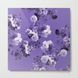 Modern trendy floral ultra violet purple pattern Metal Print