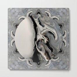 Silver Streak Globe Digital Art Silver and Black Design Metal Print